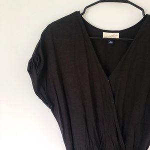 Black wrap dress.